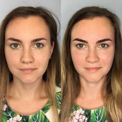 Работы выпускников до и после курса микроблейдинга, перманентный татуаж, пудовые брови